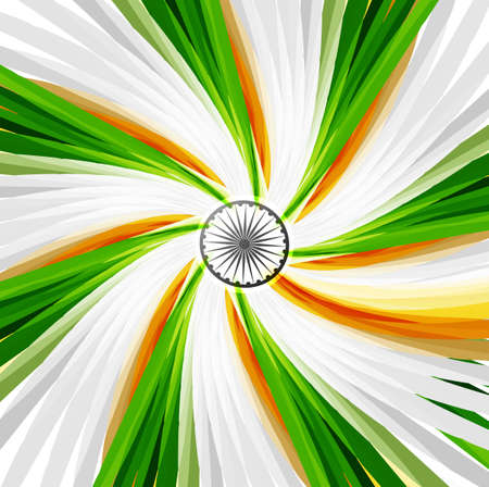 Indian Flag swirl wave with Asoka wheel on colorful background vector  Vector