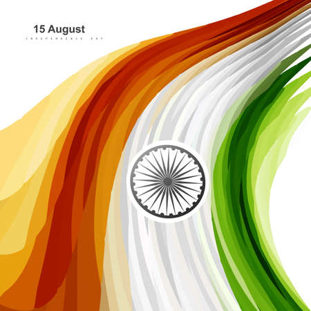 Beautiful illustration of stylish Indian flag independence day wave background Vector