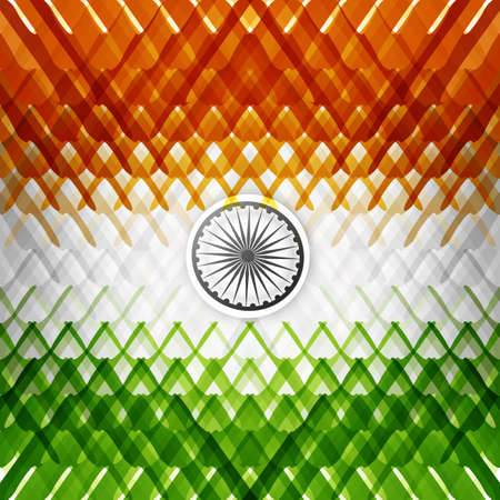 The tricolor of the Indian national flag with colorful texture vector background Vector