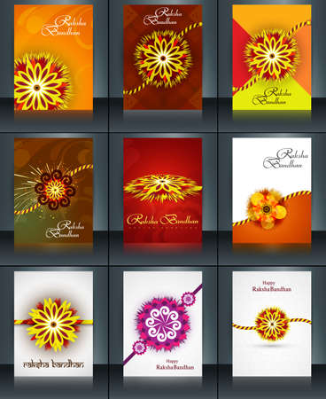 bahan: Beautiful raksha bandhan brochure template collection set reflection vector Illustration