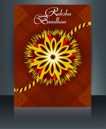 raksha: Vector Indian festival template brochure  Raksha Bandhan reflection design Illustration