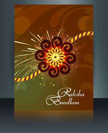 raksha: Raksha Bandhan reflection colorful brochure rakhi template indian festival