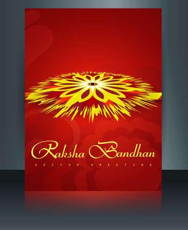 Rakhi Indian template reflection festival Raksha Bandhan brochure colorul vector