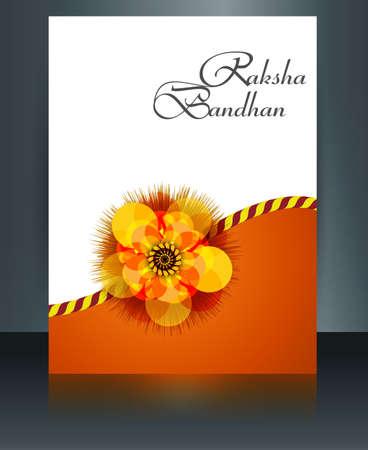 Template Indian festival brochure Raksha Bandhan reflection colorful celebration design Vector