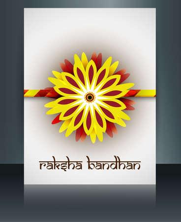 Beautiful rakhi brochure vector template Indian festival Raksha Bandhan card reflection background Vector