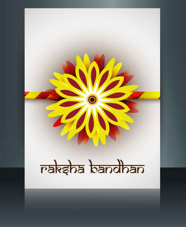 tied girl: Beautiful rakhi brochure vector template Indian festival Raksha Bandhan card reflection background Illustration