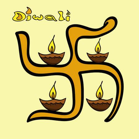 Happy Diwali stylish swastik or artistic diya Indian festival design Vector