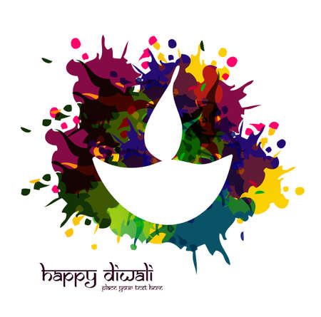 vector artistic happy diwali diya colorful for indian festival design Vector