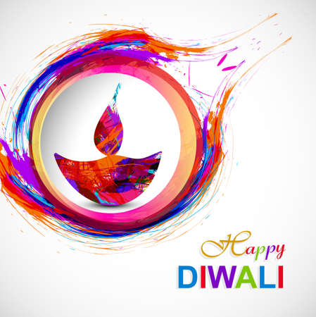 Happy diwali diya card artistic grunge colorful creative design Illustration
