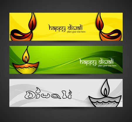 Beautiful religious colorful happy diwali glowing headers set design vector Vector