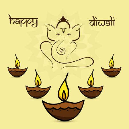 shubh diwali: Beautiful diwali card colorful artistic Lord Ganesha background Illustration