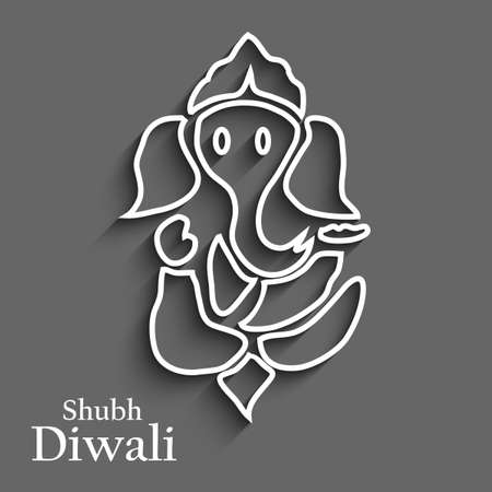 Diwali card colorful artistic Lord Ganesha design Vector