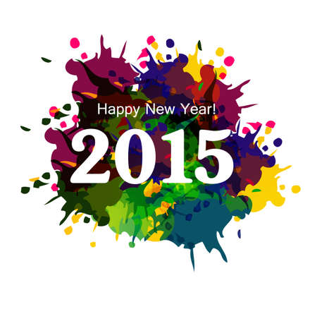 Happy New Year 2015 colorful grunge celebration beautiful card vector Vector
