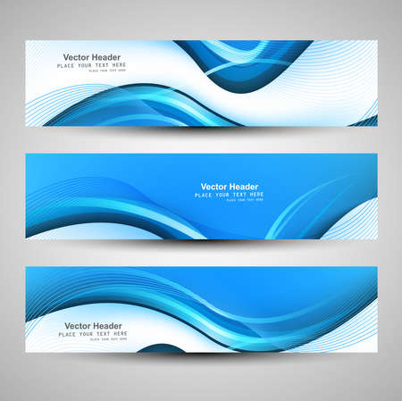 graphic backgrounds: Abstract header blue wave vector illustration