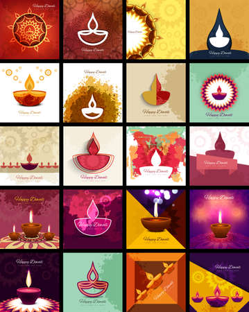 festival vector: Beautiful happy diwali 20 collection celebration presentation card colorful hindu festival vector Illustration