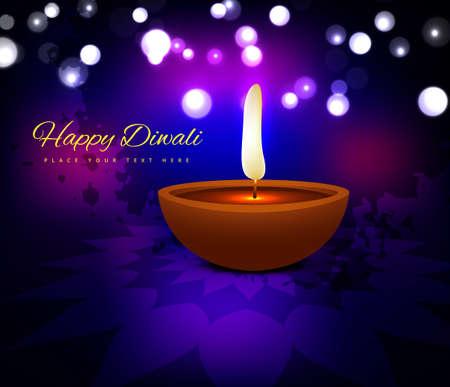 dipawali: illustration of burning diya on diwali holiday beautiful background vector