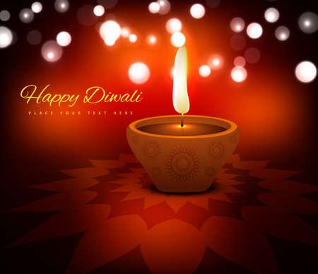illustration of burning diya on diwali card holiday beautiful vector background