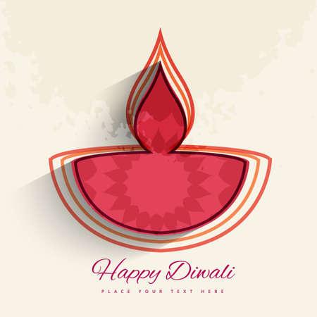 stylish colorful diwali diya isolated background design vector
