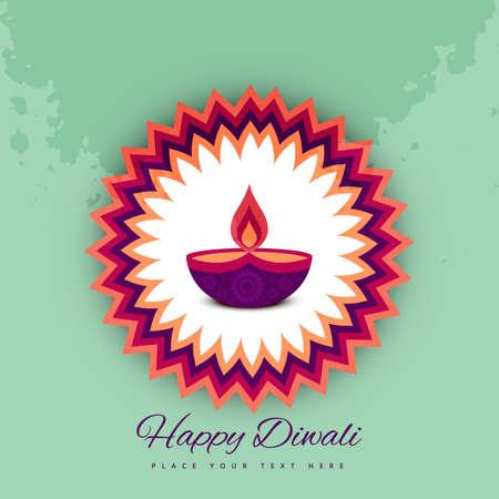 an oil lamp: Diwali festival de celebración colorido de fondo vector