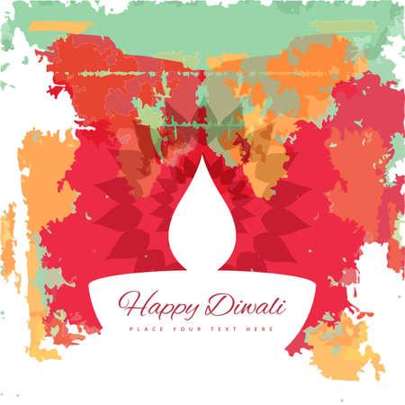 diya: Happy Diwali diya colorful artistic grunge design illustration vector
