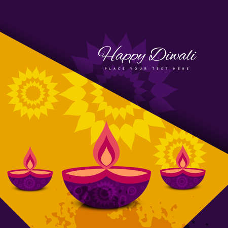 diwali greeting: diwali colorfu card decorativel background Vector