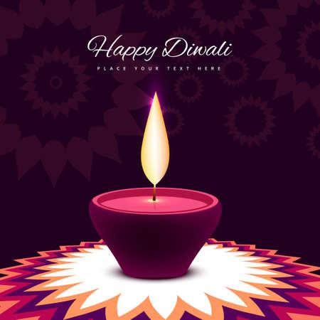 diwali festival with beautiful lamp colorful shiny background  illustration Illustration