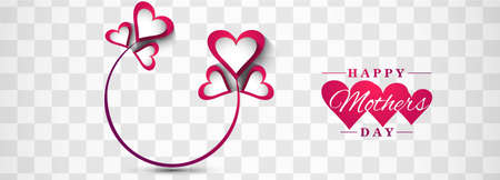 Happy mother's day heart banner template design