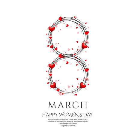 International womens day poster. 8 number origami design