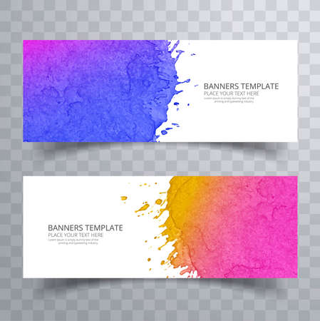 Abstract colorful watercolor header set vector