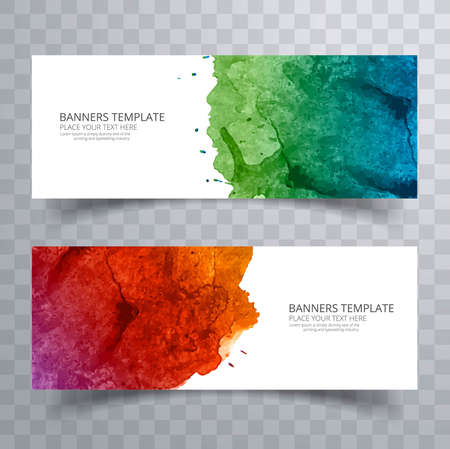 Abstract colorful watercolor header set design 일러스트