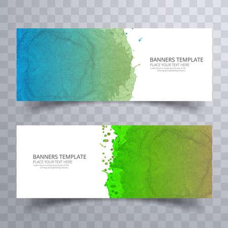 Beautiful soft colorful watercolor header set vector