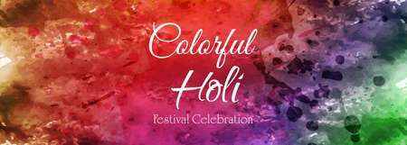 Celebration colorful happy holi banner tamplate