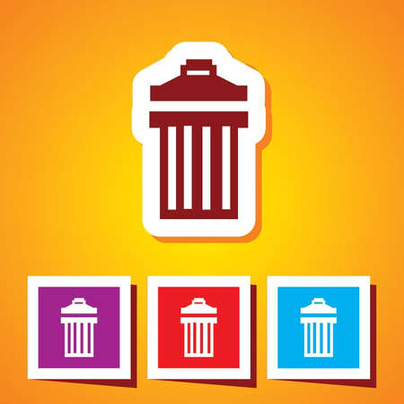 garbage can: Garbage can - Vector icon isolated of Dustbin