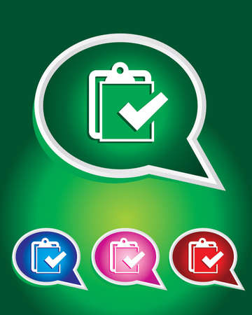 Clip Board with Checklist Icon on The Speech Bubble Stock Vector - 20668731