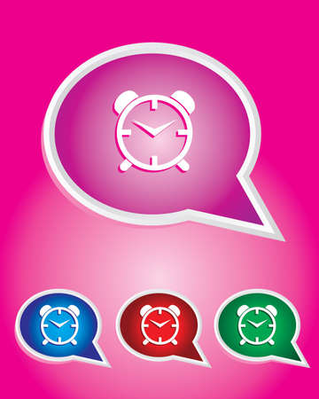 Alarm Clock Icon on The Speech Bubble Stock Vector - 20668741