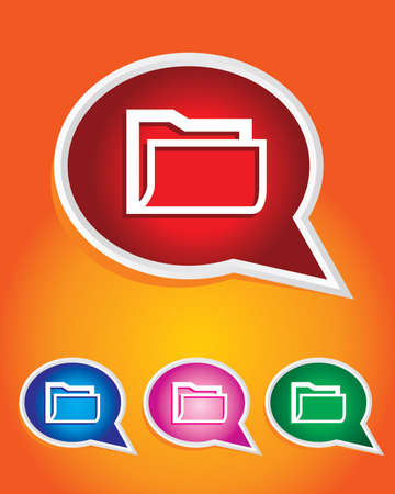 Computer Folder Icon on The Speech Bubble Stock Vector - 20668742