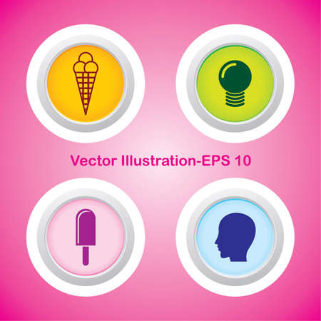 Four Vector Buttons with Very Useful Web Icons Stock Vector - 21700160