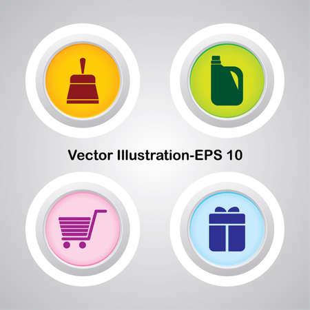 spazzatrice: Quattro vettore pulsanti con molto utili Icone Web Vettoriali