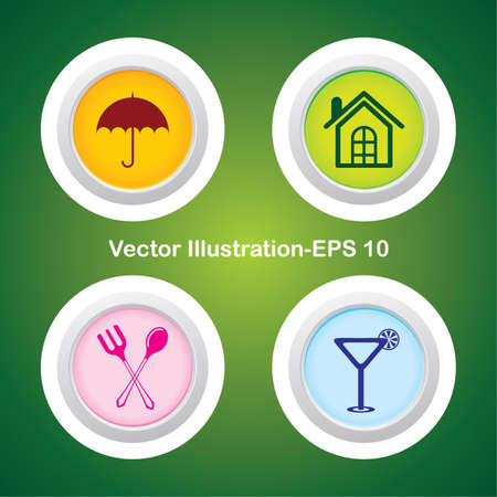 Four Vector Buttons with Very Useful Web Icons Stock Vector - 21700176