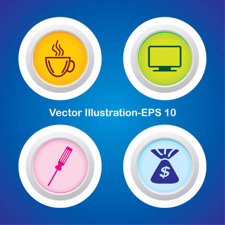 Four Vector Buttons with Very Useful Web Icons Stock Vector - 21700178