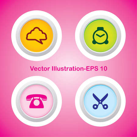 Four Vector Buttons with Very Useful Web Icons Stock Vector - 21700179