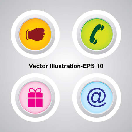 Four Vector Buttons with Very Useful Web Icons Stock Vector - 21700180