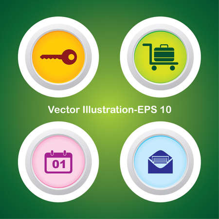Four Vector Buttons with Very Useful Web Icons Stock Vector - 21700181