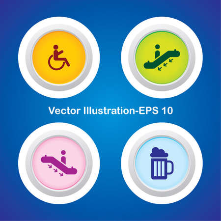 Four Vector Buttons with Very Useful Web Icons Stock Vector - 21700196
