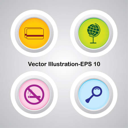 Four Vector Buttons with Very Useful Web Icons Stock Vector - 21700206