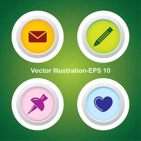 Four Vector Buttons with Very Useful Web Icons Stock Vector - 21700209