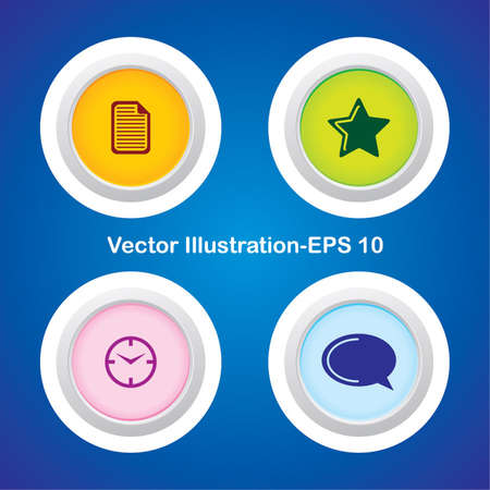 Four Vector Buttons with Very Useful Web Icons Stock Vector - 21700210