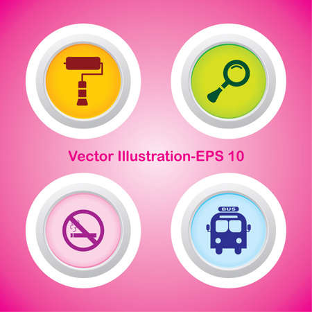 Four Vector Buttons with Very Useful Web Icons Illustration