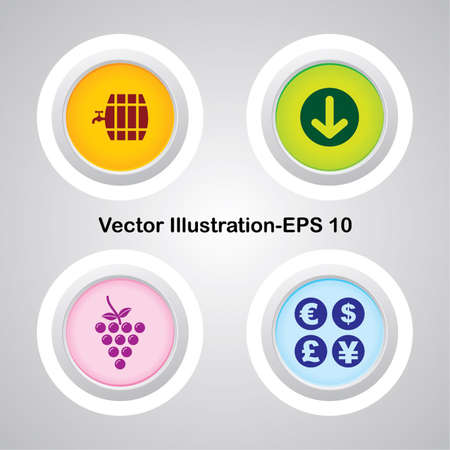 intoxicated: Four Vector Buttons with Very Useful Web Icons Illustration