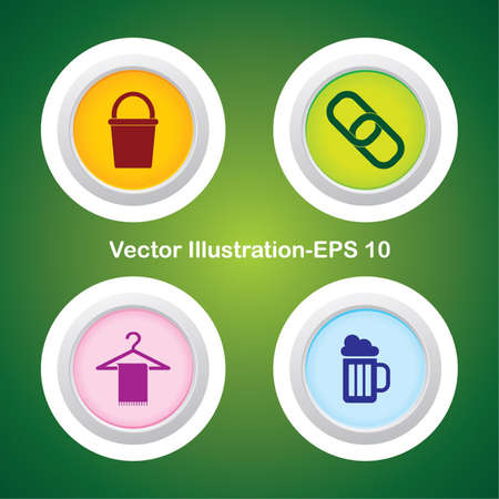 Four Vector Buttons with Very Useful Web Icons Stock Vector - 21700213